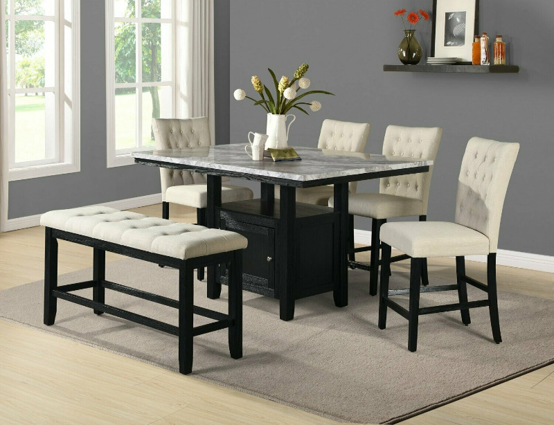 D109-6PC 6 pc Darby home co lona espresso finish wood faux marble top counter height storage pedestal dining table set