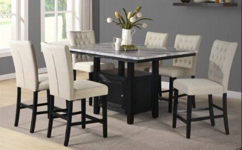 D109-7PC 7 pc Darby home co lona espresso finish wood faux marble top counter height storage pedestal dining table set