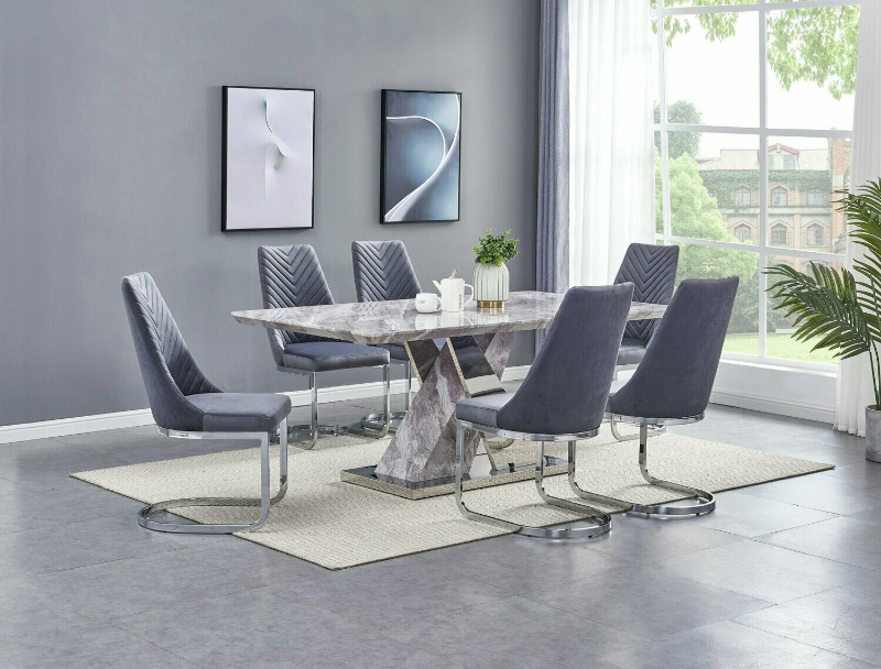 D120-7PC 7 pc Darby home co Alonza stainless steel and faux marble top pedestal dining table set