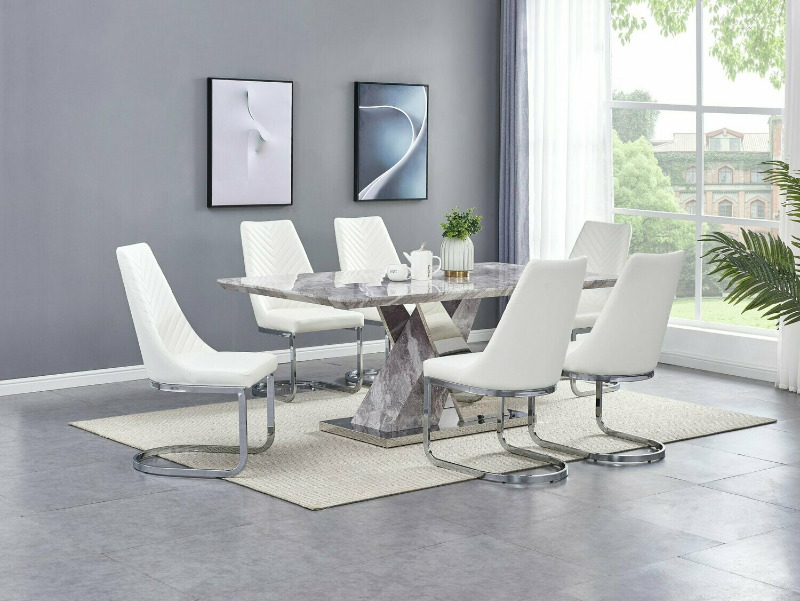D121-7PC 7 pc Darby home co Alonza stainless steel and faux marble top pedestal dining table set