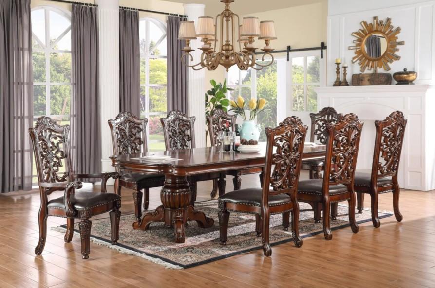 Mc Ferran D1801-7PC 7 pc Astoria grand wexler dark finish wood double pedestal dining table set wood back chairs