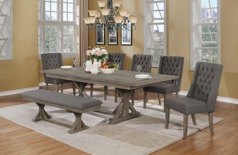 D21-B-5D26SC 7 pc One allium way trixie antique gray finish wood double pedestal dining table set