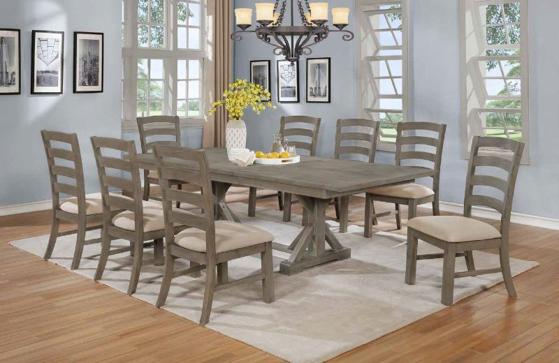 D22-9PC 9 pc One allium way trixie antique gray finish wood double pedestal dining table set