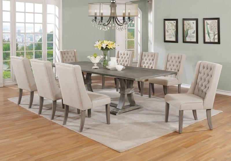 Best Quality D25-9PC 9 pc Gracie oaks desjardins denville antique rustic grey finish wood dining table set
