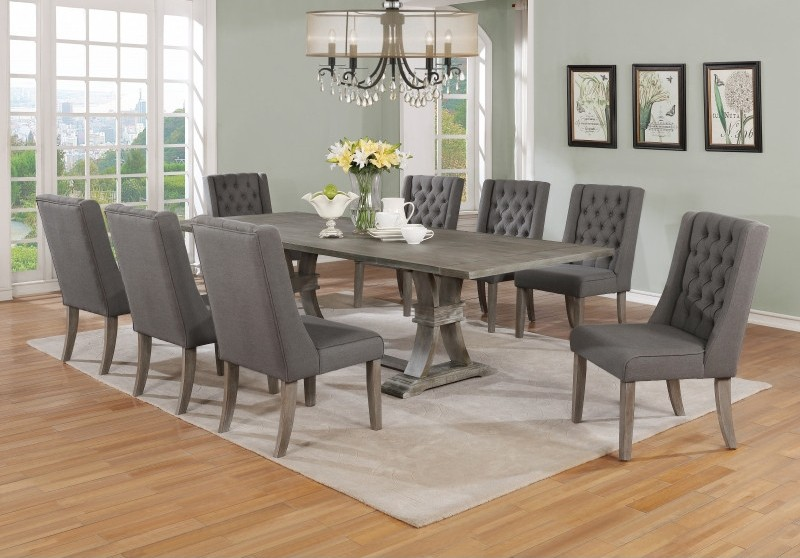 Best Quality D26-9PC-GY 9 pc Gracie oaks desjardins denville antique rustic grey finish wood dining table set grey chairs