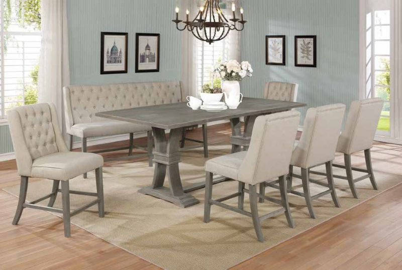D27-7PC 7 pc Gracie oaks desjardins denville antique rustic grey finish wood counter height dining table set