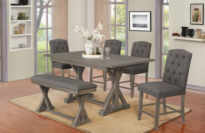 D304-6PC 6 pc Gracie oaks clarissa antique rustic grey finish wood counter height dining table set with bench