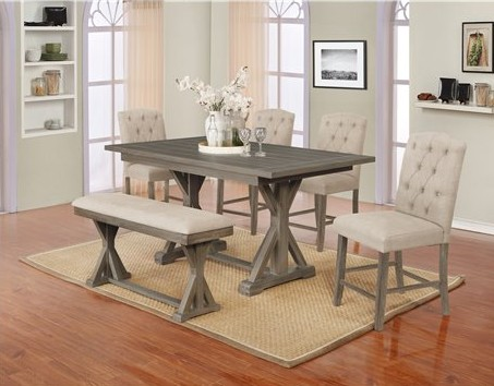 D305-6PC-BG 6 pc Gracie oaks clarissa gray finish wood counter height dining table set