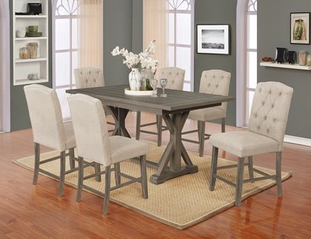 D305-7PC-BG 7 pc Gracie oaks clarissa gray finish wood counter height dining table set