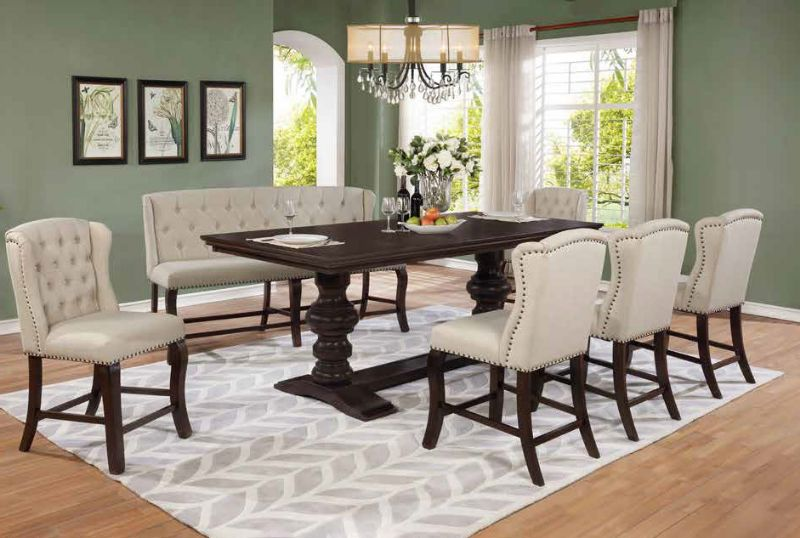 D31-7PC-BN 7 pc Winston porter encore antique espresso finish wood rustic style counter height dining table set