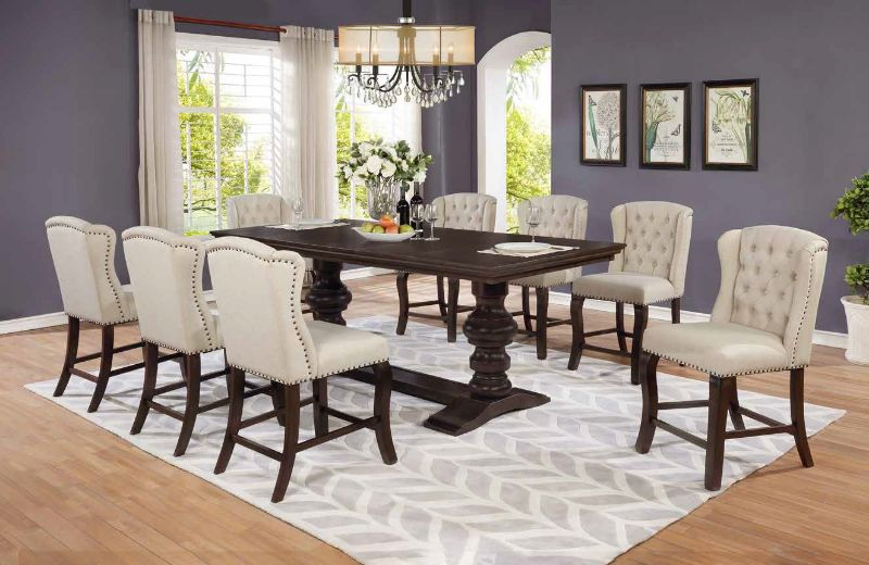 D31-9PC 9 pc Winston porter encore antique espresso finish wood rustic style counter height dining table set