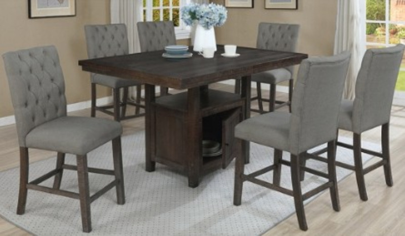 D318-7PC 7 pc Darby home co lona rustic dark oak finish wood storage pedestal counter height dining table set