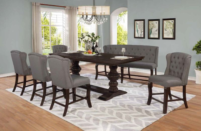 D32-7PC 7 pc Winston porter encore antique espresso finish wood rustic style counter height dining table set