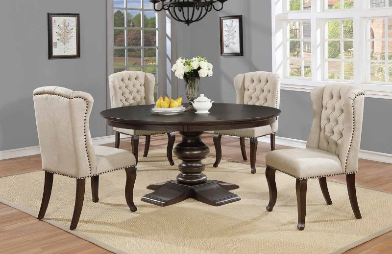 """D33-5PC 5 pc Canora grey kirt espresso finish wood rustic style 54"""" round dining table set"""