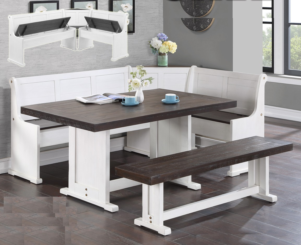 D450-51-52 5 pc Gracie oaks merlinda sandy beach two tone finish wood breakfast nook table and benches with storage