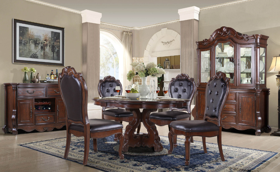 """Mc Ferran D527-6060 5 pc Astoria grand mcquaig dark brown two tone finish wood 60"""" round dining table set carved back chairs"""