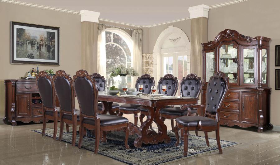Mc Ferran D527 7 pc Astoria grand mcquaig dark brown two tone finish wood dining table set