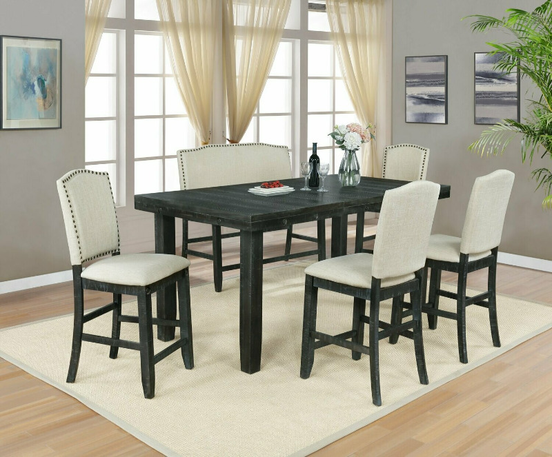 D71-6PC 6 pc Darby home co lona rustic dark oak finish wood counter height dining table set with leaf