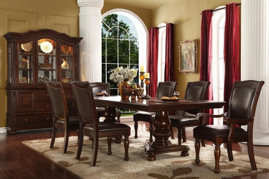 Mc Ferran D7900-7PC 7 pc Astoria grand engler dark finish wood double pedestal dining table set