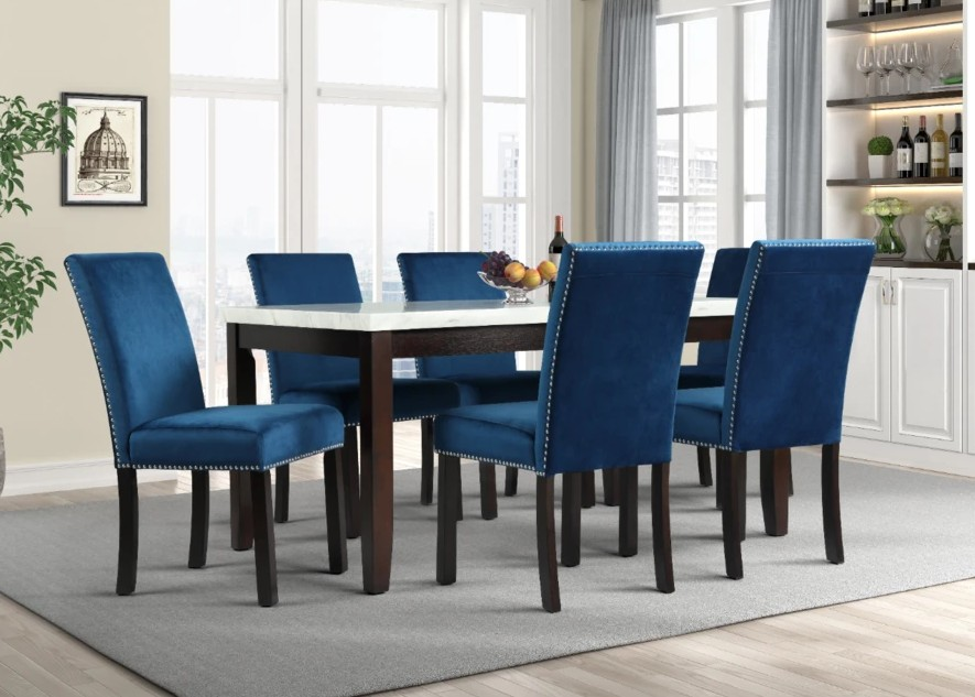 Mc Ferran MF-D805-7PC 7 pc Gracie oak mach black finish wood faux marble top dining table set blue velvet chairs