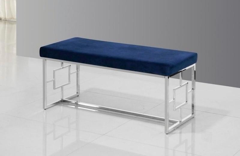 Best Master E02 Stainless steel finish blue velvet bedroom entry bench