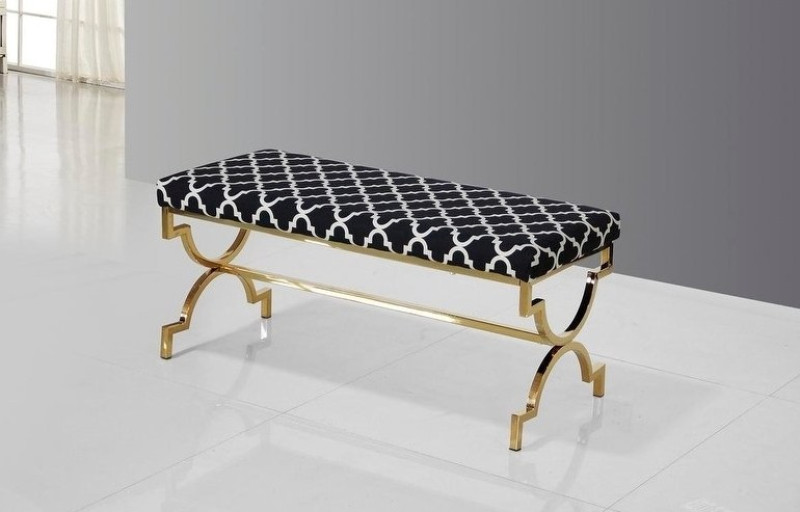 Best Master E07 Gold tone plated safavieh black bedroom entry bench