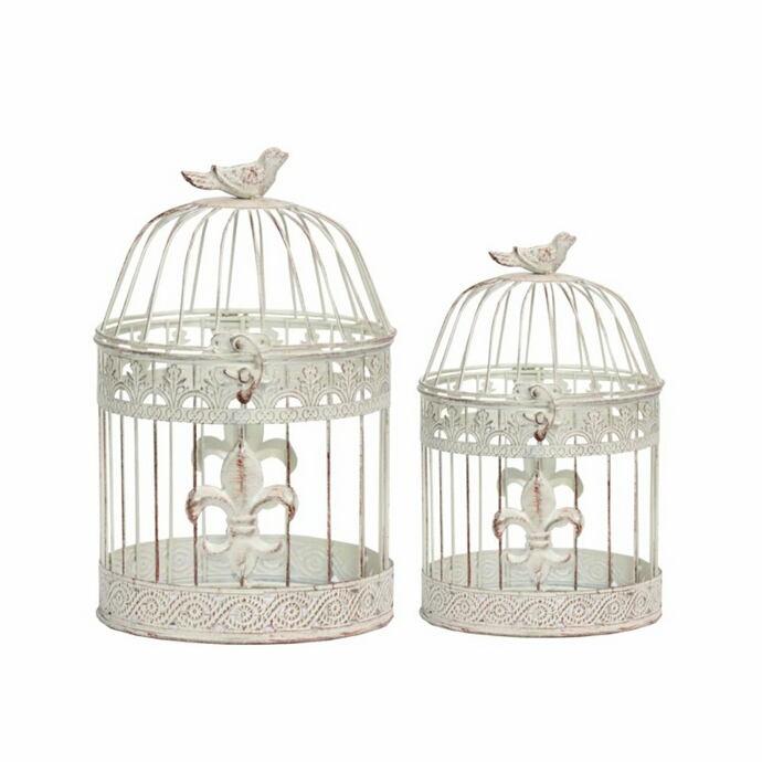 Exclusive 2 Piece Metal Bird Cage-Benzara
