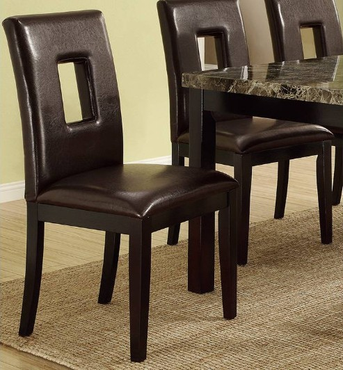 Poundex F1051 Set of 2 Drake espresso faux leather dining chairs Keyhole back style