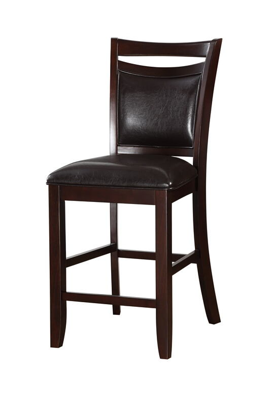 Poundex F1389 Set of 2 Drake dark brown finish wood and faux leather counter height bar chairs