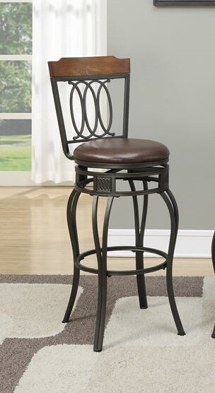 Poundex F1524 Set of 2 Calistoga collection wood top and ovals swivel bar stools with padded seat