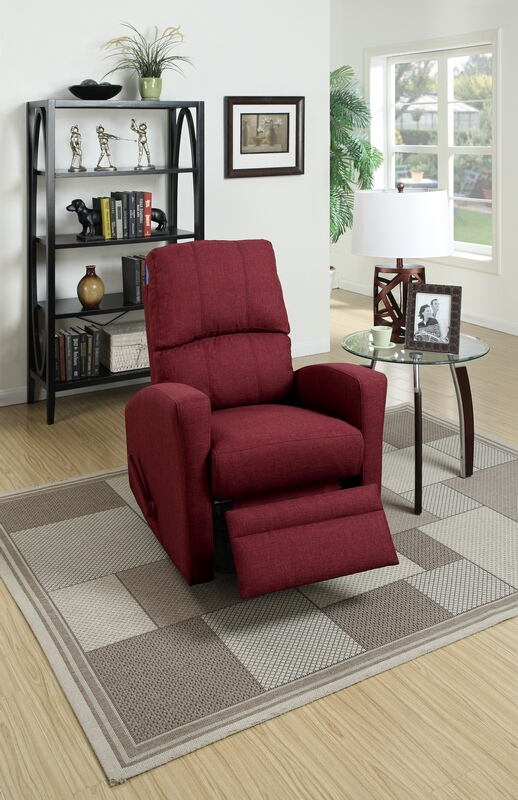 Poundex F1531 Collette carmine polyfiber fabric swivel recliner chair