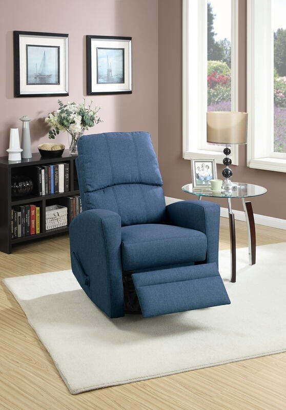 Collette collection navy polyfiber fabric upholstered swivel recliner chair