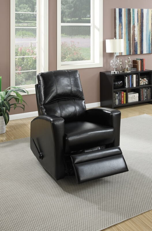 Poundex F1533 Collette collection black faux leather upholstered swivel recliner chair