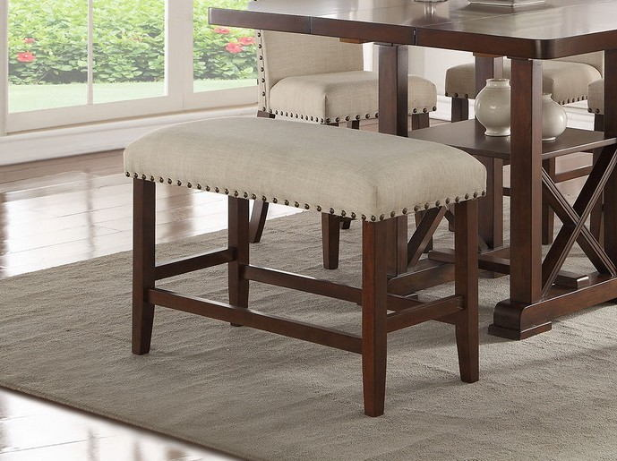 Bridget II collection dark cherry finish wood counter height dining bench with padded seats nail head trim accents