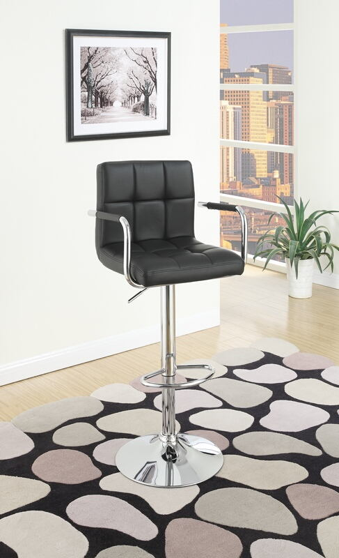 Poundex F1557 Set of 2 kossini contemporary style black grid pattern faux leather with arms adjustable swivel bar stool