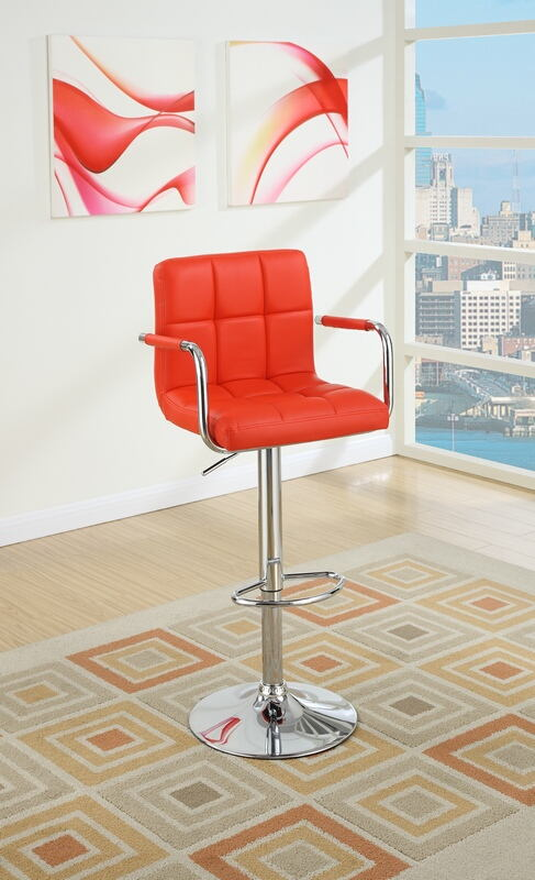 Set of 2 kossini collection contemporary style red grid pattern faux leather with arms adjustable swivel bar stool