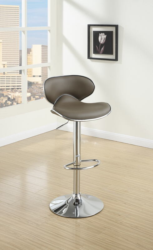 Poundex F1563 Set of 2 kossini contemporary style espresso faux leather adjustable swivel bar stool