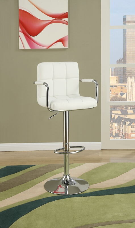Poundex F1567 Set of 2 kossini contemporary style white grid pattern faux leather with arms adjustable swivel bar stool