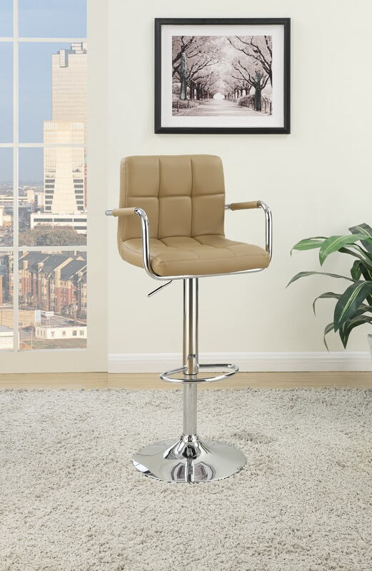 Poundex F1568 Set of 2 kossini contemporary style brown grid pattern faux leather with arms adjustable swivel bar stool