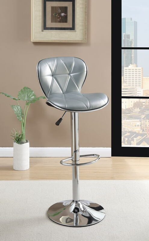 Poundex F1623 Set of 2 kossini contemporary style silver diamond pattern faux leather adjustable swivel bar stool