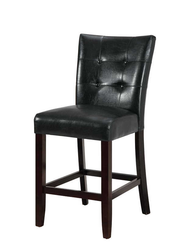 Poundex F1754 Set of 2 Drake black faux leather counter height bar chairs tufted back