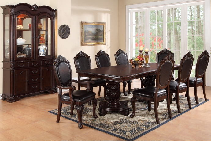 Poundex F2182-1395-1396 7 pc kathryn ii dark brown finish wood double pedestal dining table set with vinyl seats