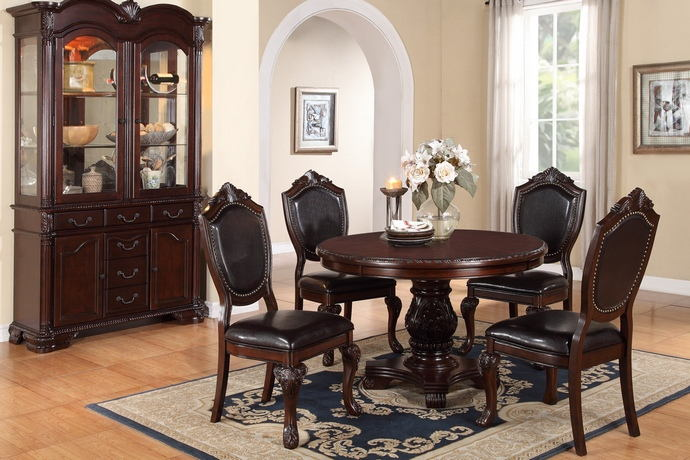 Poundex F2187-1395 5 pc kathryn ii dark brown finish wood round dining table set with vinyl seats