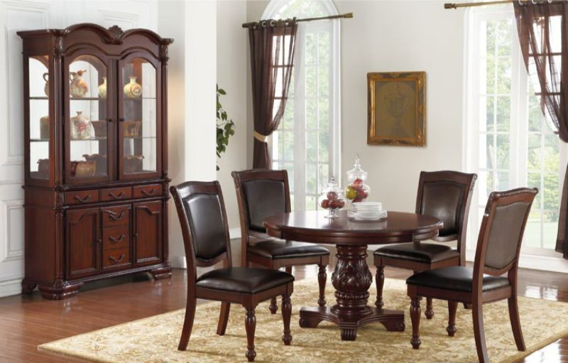 Poundex F2187-1729 5 pc kathryn coleman dark brown finish wood round dining table set
