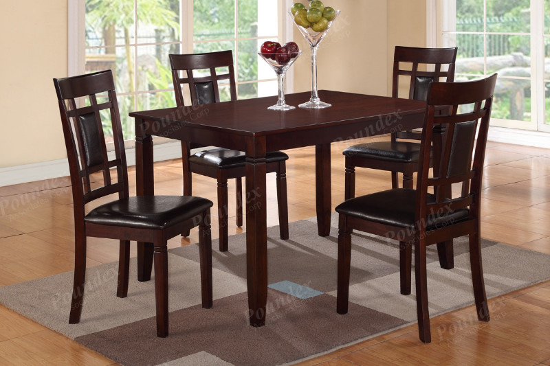 Poundex F2232 5 pc Marlin dark brown finish wood dining table set