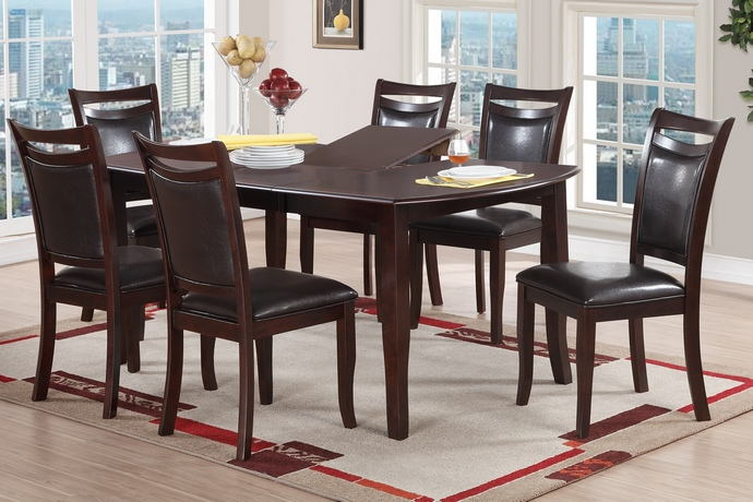 7 pc conrad ii collection dark brown wood finish dining table with butterfly leaf
