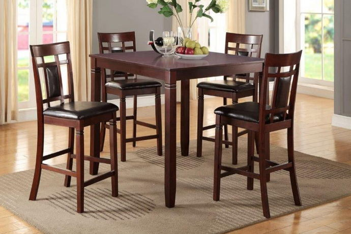 5 pc manhattan i collection dark brown finish wood counter height dining table set