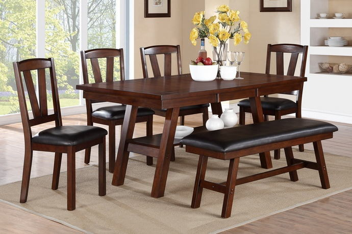 6 pc montana collection dark walnut finish wood dining table set with padded seats