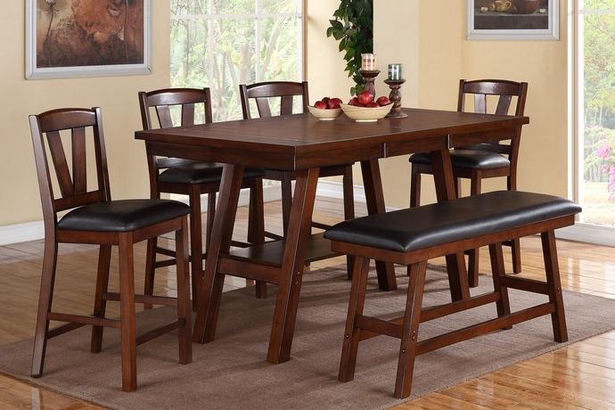 Poundex F2273-1333-1334 6 pc montana dark walnut finish wood counter height dining table set padded seats