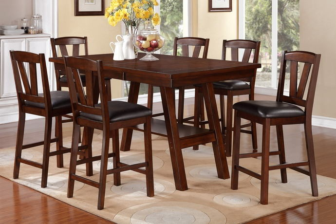 Poundex F2273-1333 7 pc montana dark walnut finish wood counter height dining table set padded seats